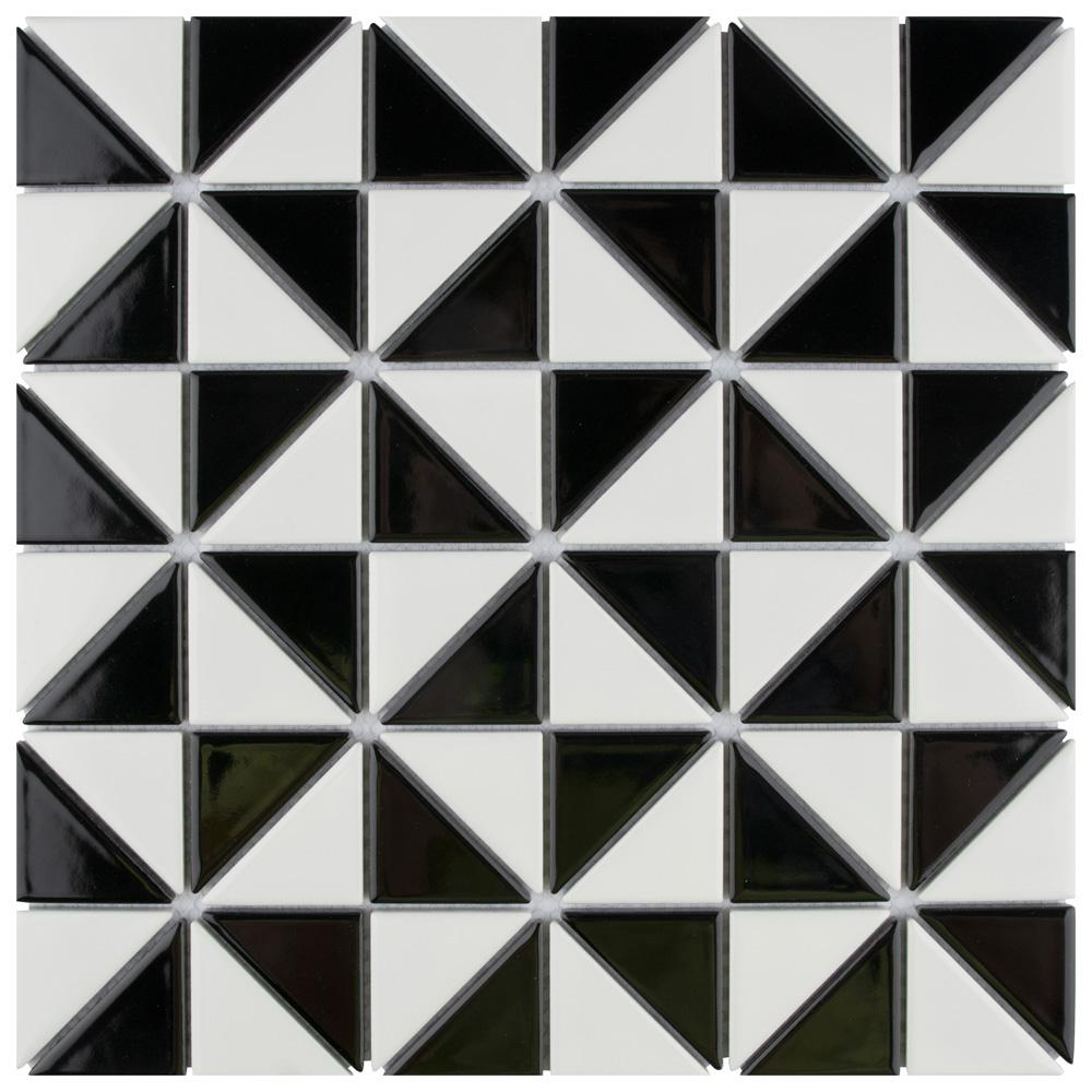 Merola Tile Tre Multi Windmill Glossy White And Black 10 3 4 In