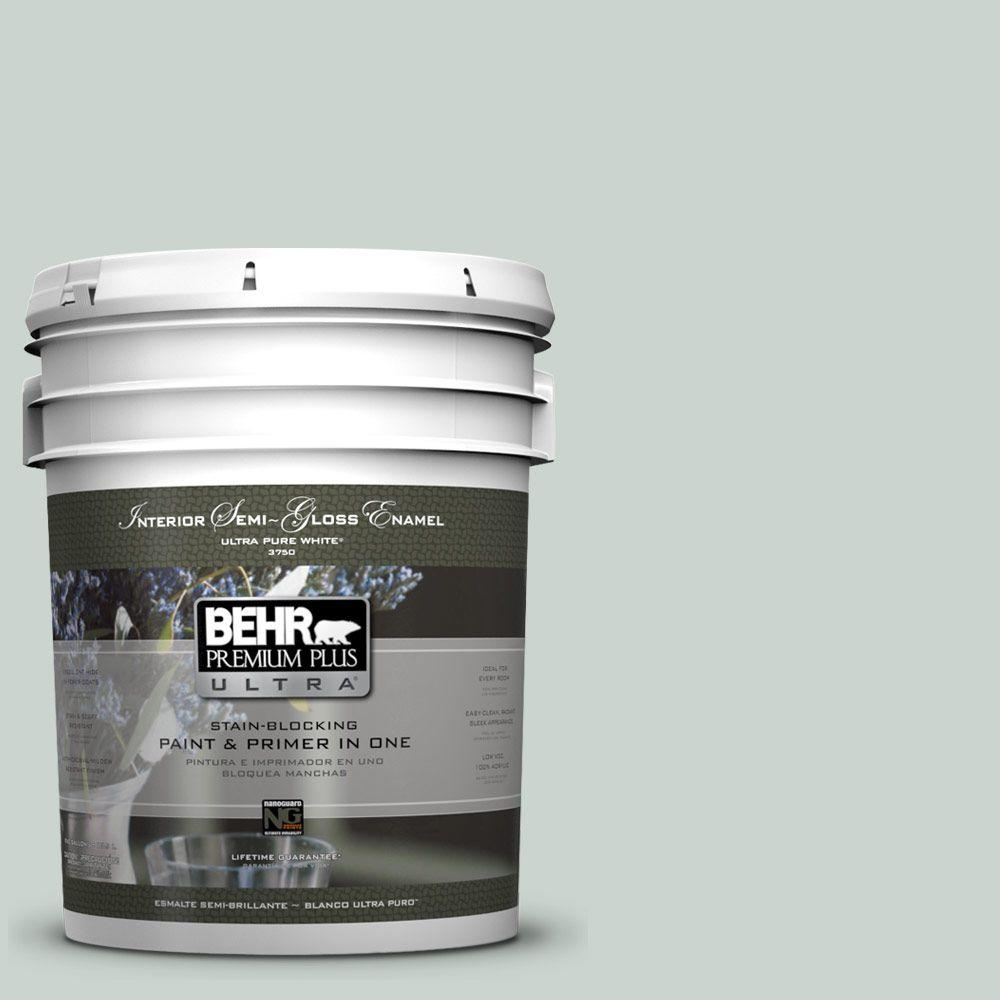 BEHR Premium Plus Ultra 5 gal. #460E-2 Valley Mist Semi-Gloss Enamel Interior Paint and Primer in One