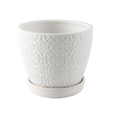 5.75 in. Matte White Catheral Ceramic Pot with Saucer