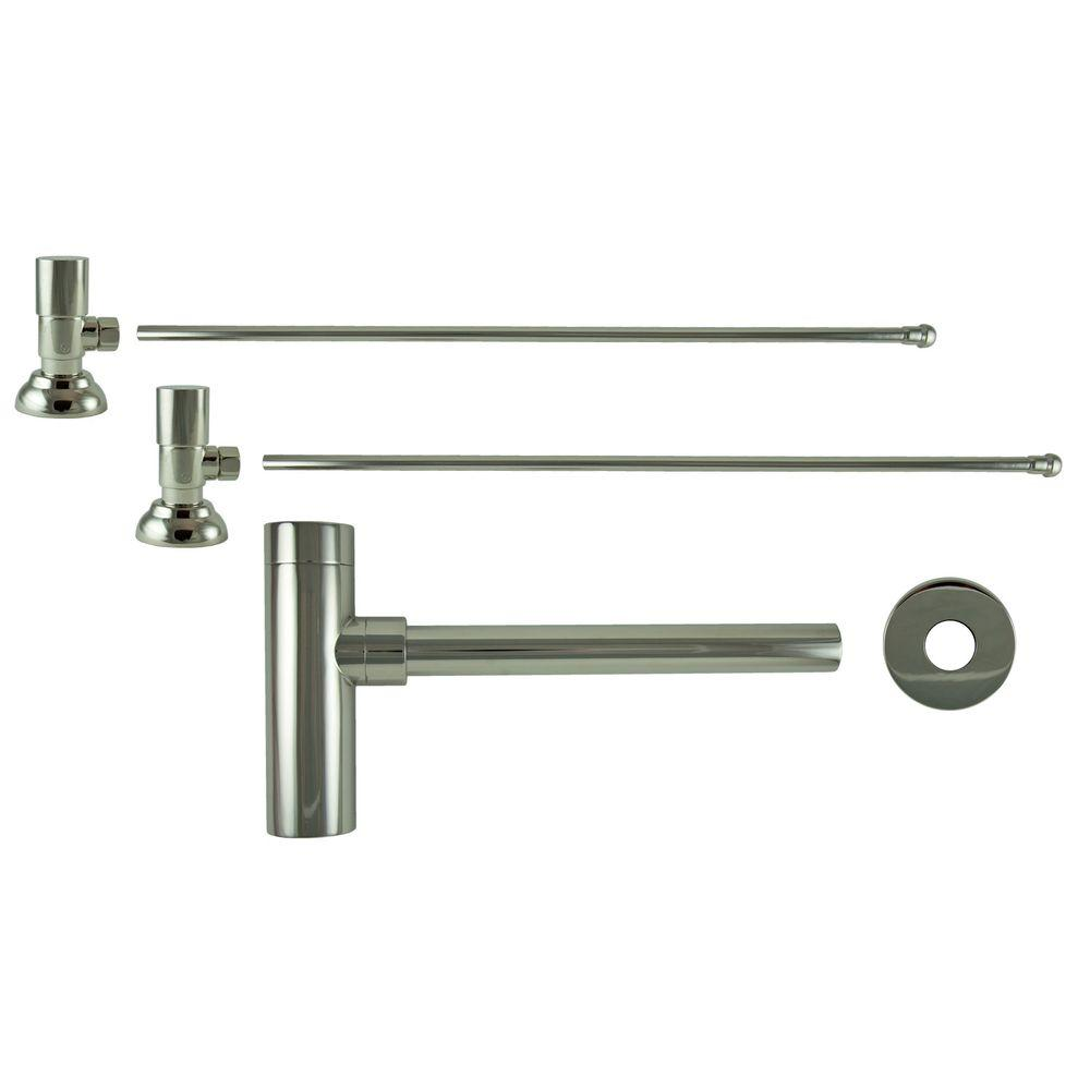 3/8 in. x 20 in. Brass Lavatory Supply Lines with Round Handle Shutoff Valves and Decorative Trap in Polished Nickel Barclay provides all your essential bathroom needs. Replace unsightly plumbing under your exposed sink with this decorative lavatory trap and supplies. Enjoy the convenience of accessible water shut-off. Color: Polished Nickel.