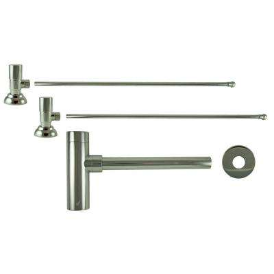 3/8 in. x 20 in. Brass Lavatory Supply Lines with Round Handle Shutoff Valves and Decorative Trap in Polished Nickel