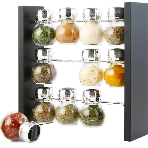 Spice Jar Rack with 12-Durable Glass Bottles