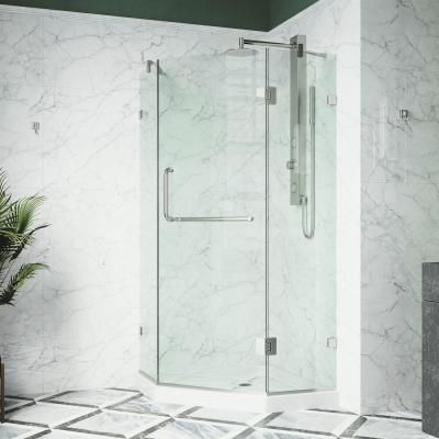 Piedmont 38 in. x 76 in. Frameless Neo-Angle Hinged Corner Shower Door in Brushed Nickel Hardware with Low-Profile Base