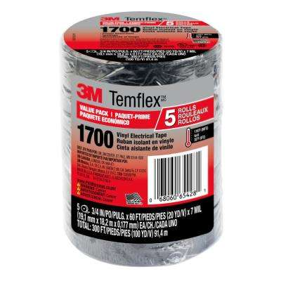 Temflex 3/4 in. x 60 ft. 1700 Electrical Tape Black (5-Pack)