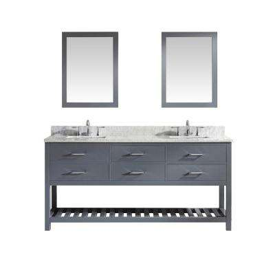 Caroline Estate 72 in. W x 36 in. H Vanity with Marble Vanity Top in Carrara White with White Square Basin and Mirror