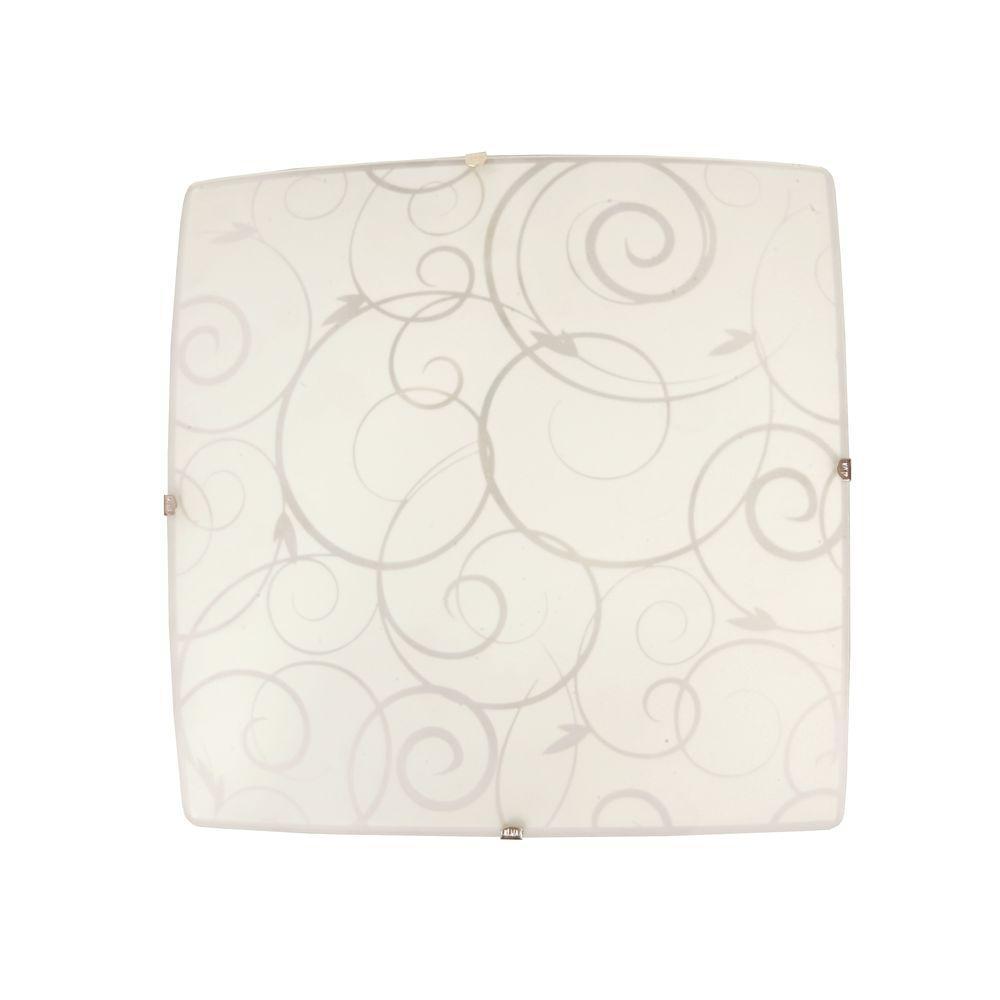 Scroll Swirl Design 1-Light White Ceiling Square Flushmount