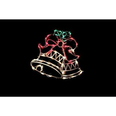 18 in. Lighted Double Bells Christmas Window Silhouette Decoration