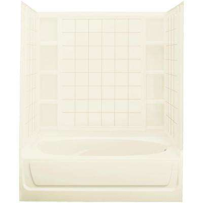 Ensemble 42 in. x 60 in. x 73-1/4 in. Bath and Shower Kit Right Drain in Biscuit
