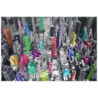 "Oriental Furniture 40 in. x 59 in. ""Colorful New York"" Canvas Wall Art"