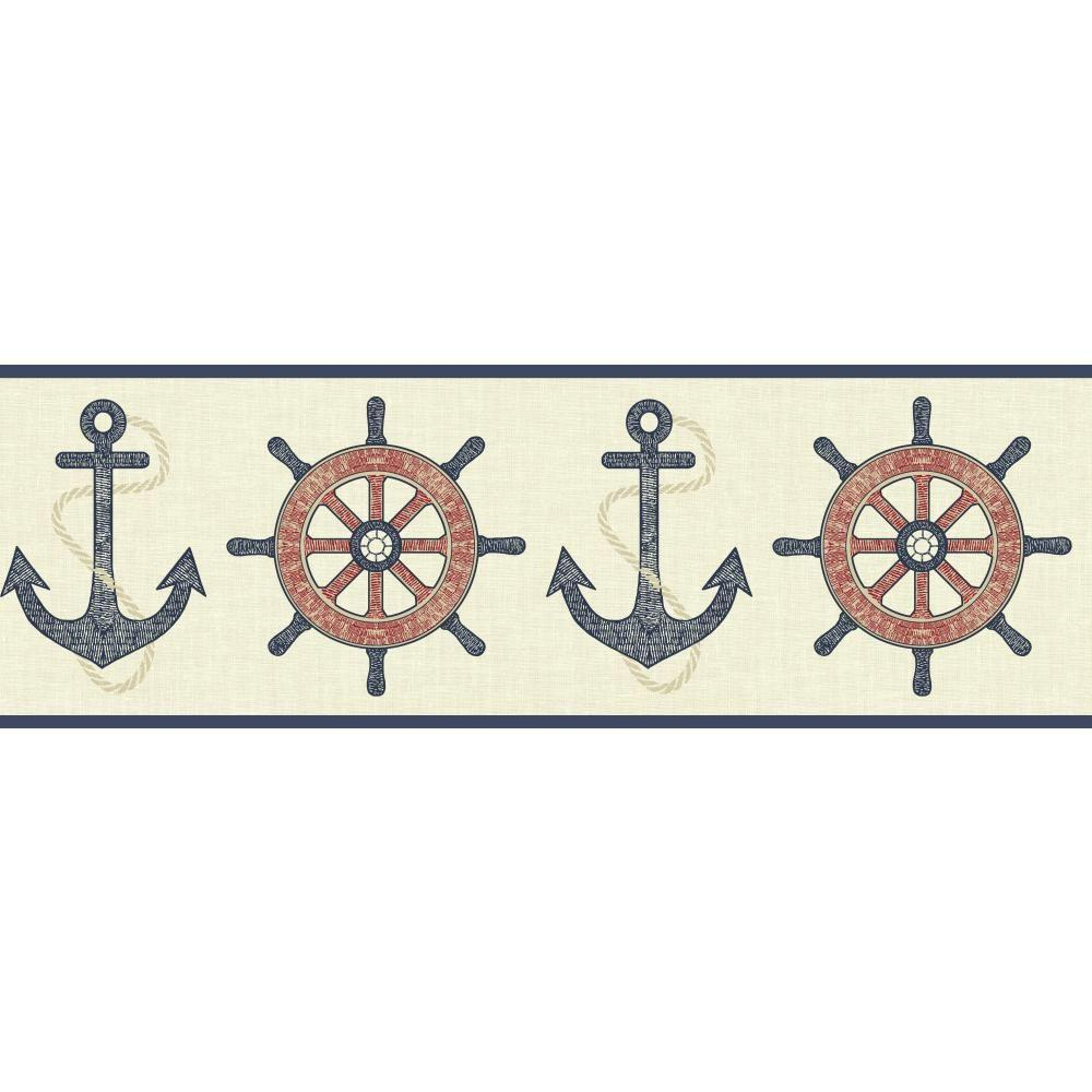 YORK Nautical Living Nautical Spot Wallpaper Border, Ivor...