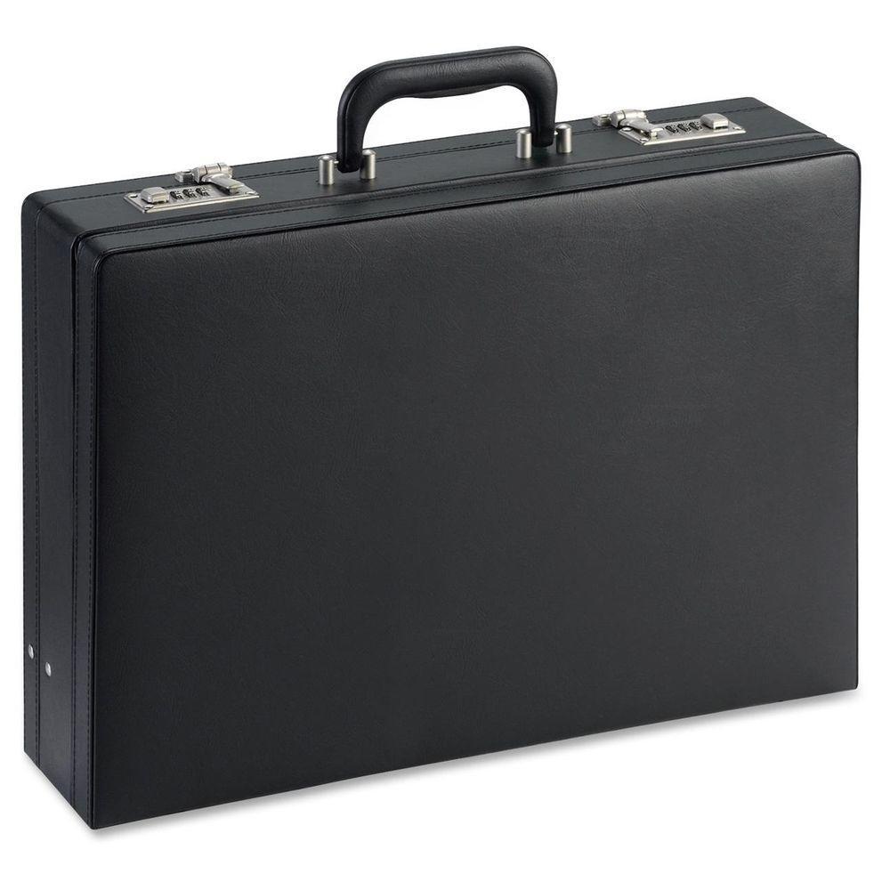 12.5 in. x 17.5 in. x 4 in. Vinyl Document Carrying Case, Black