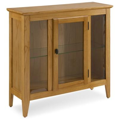 Natural Oak Entryway Curio Cabinet with Interior Light