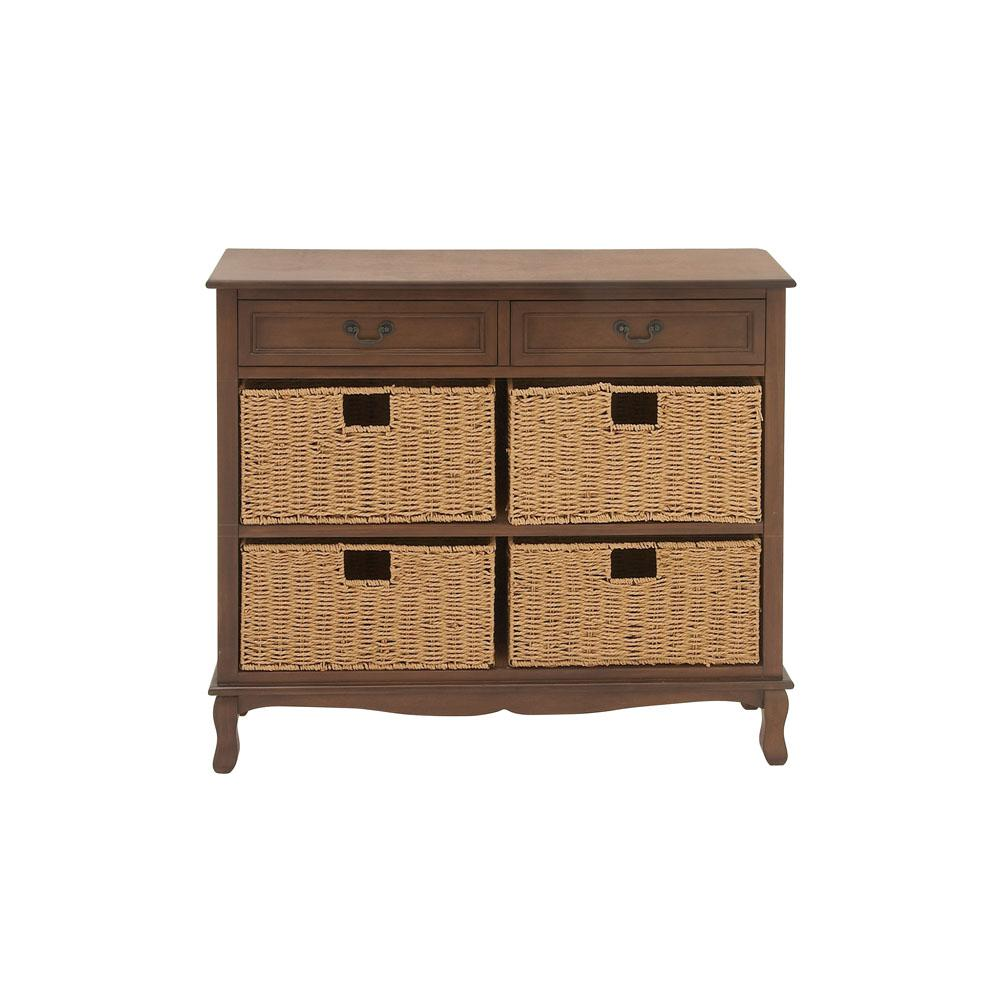6-Drawer Painted Cherry Wood Brown and Natural Woven Seagrass Chest