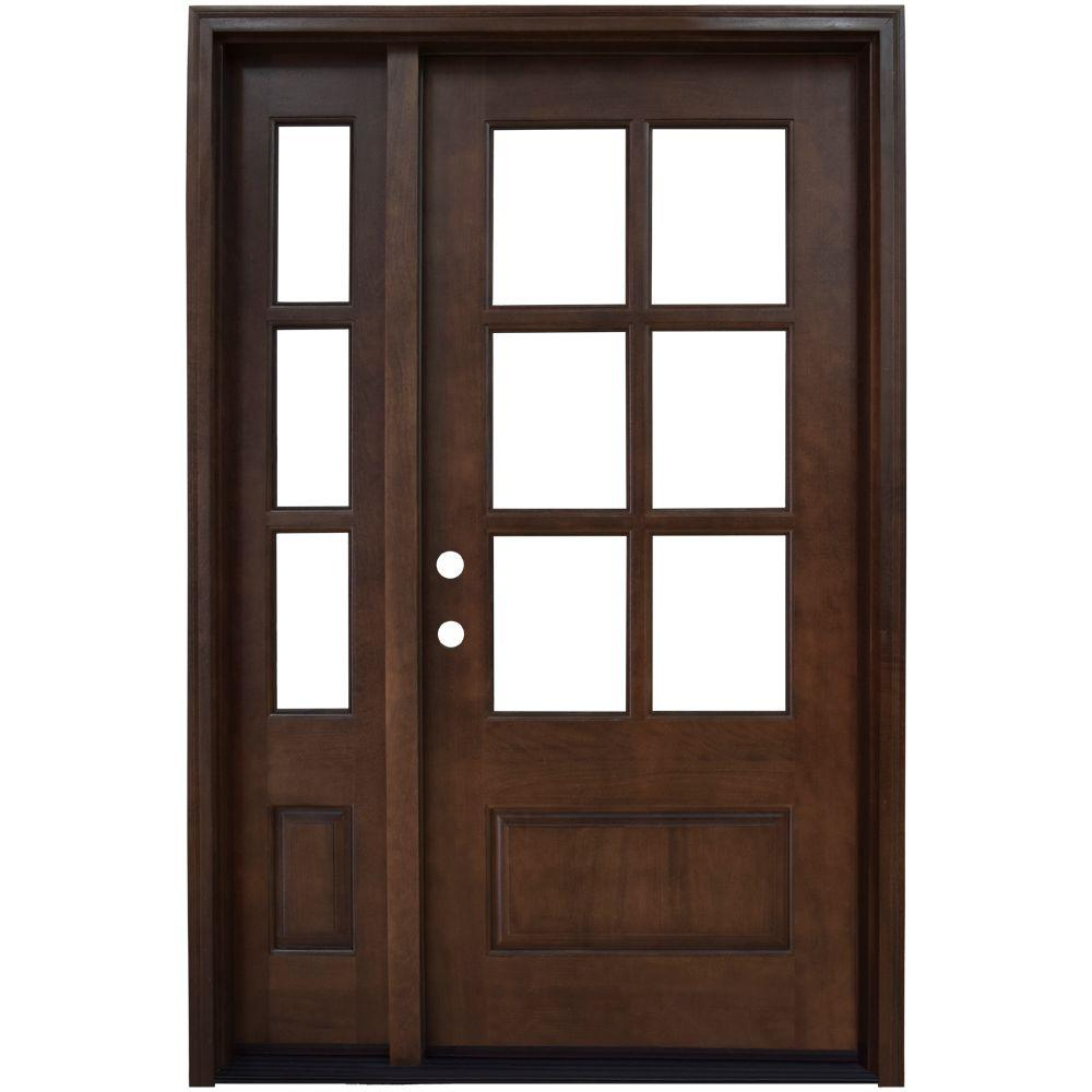 50 in. x 80 in. Savannah Right-Hand 6 Lite Clear Stained