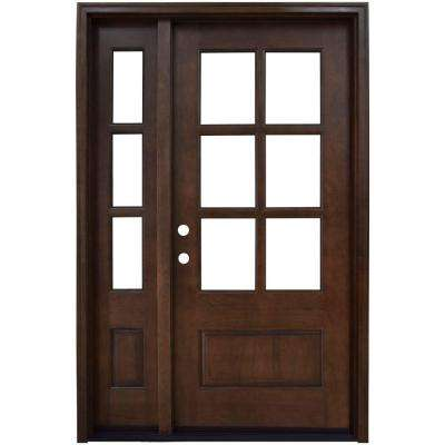 52 in. x 80 in. Savannah Clear 6 Lite RHIS Mahogany Stained Wood Prehung Front Door with Single 12 in. Sidelite