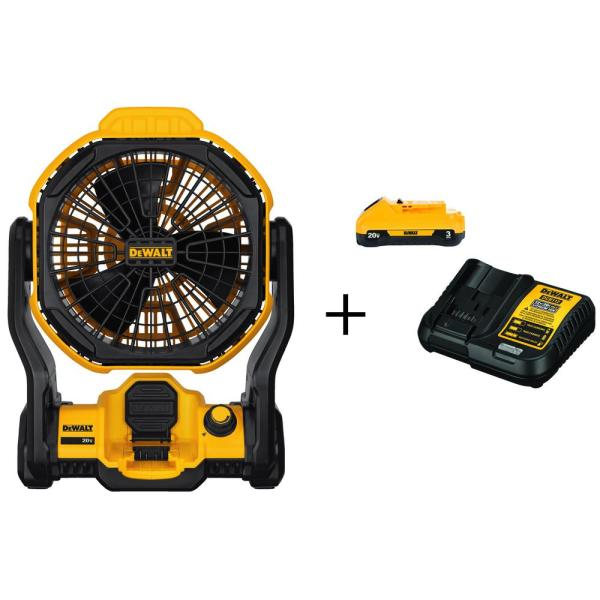 DEWALT 20-Volt MAX Lithium-Ion Cordless & Corded Jobsite Fan (Tool-Only) with Free 20-Volt MAX Battery 3.0Ah & Charger