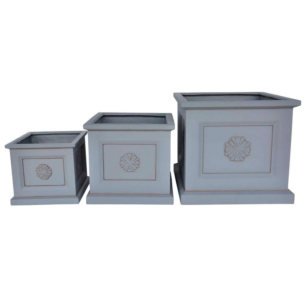 Light Gray Cement Square Medallion Planter (Set of 3)