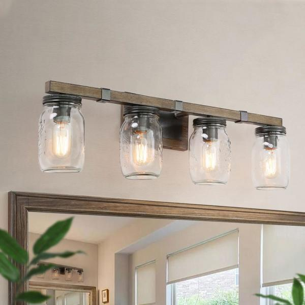 Araphi 4-Light 29 in. Oil-Rubbed Bronze Rustic Bathroom Vanity Light with Clear Jar Glass Shade and Painted Wood Accents
