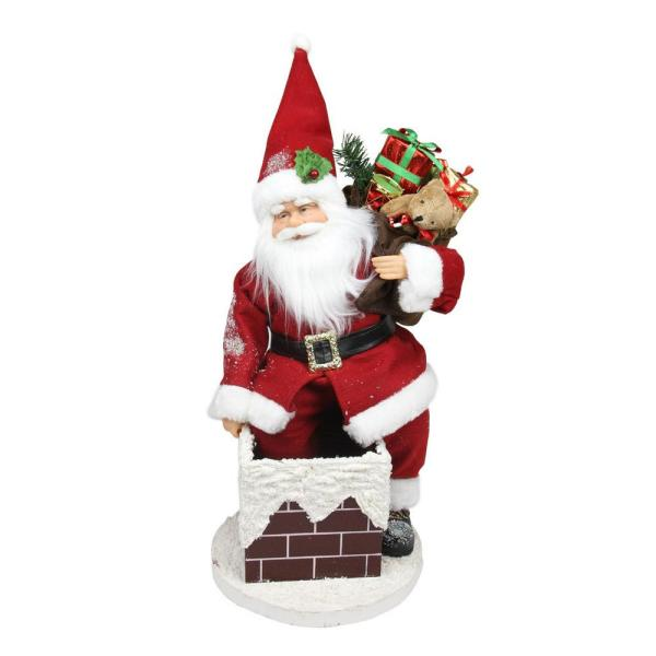 16.5 in. Animated Santa Claus Going Down a Chimney with Gifts Christmas Decoration