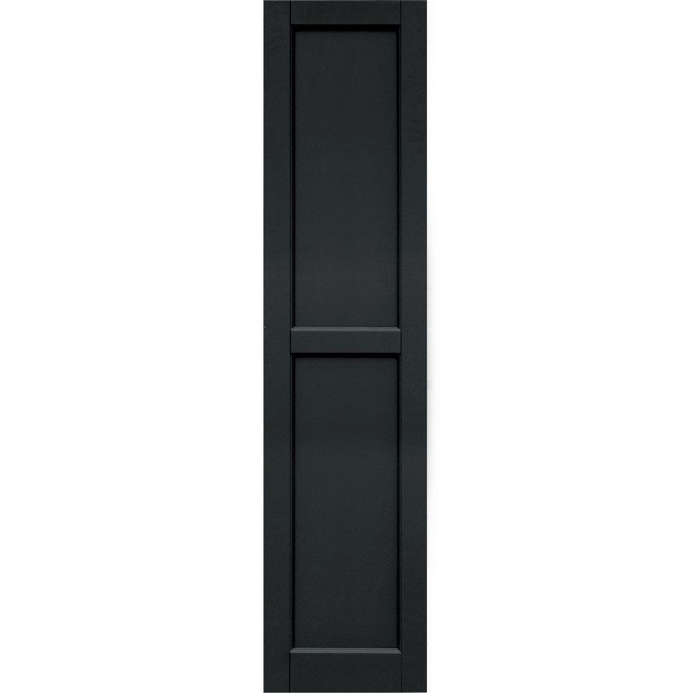 Winworks Wood Composite 15 in. x 64 in. Contemporary Flat Panel Shutters Pair #632 Black