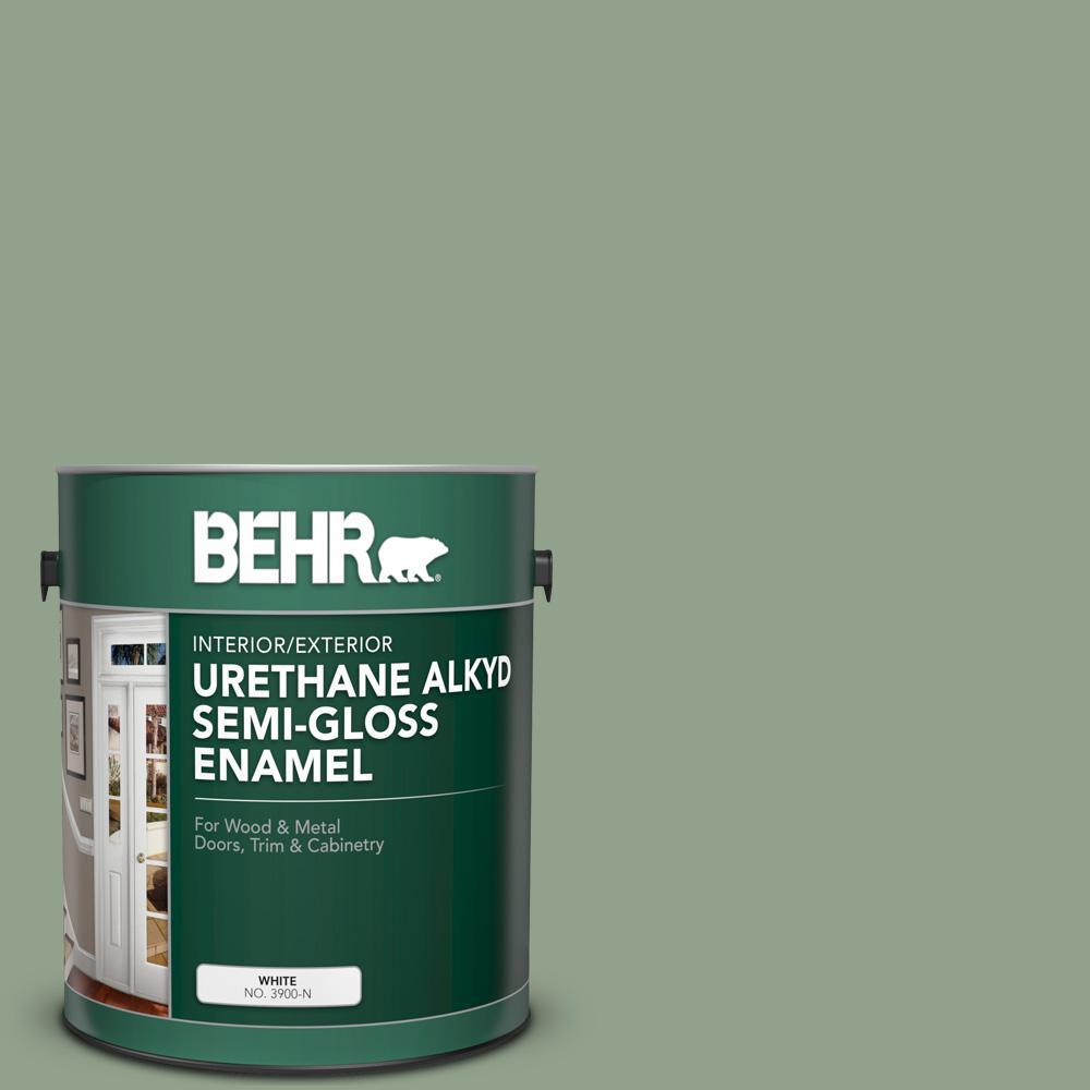BEHR 1 gal  #440F-4 Athenian Green Urethane Alkyd Semi-Gloss Enamel  Interior/Exterior Paint