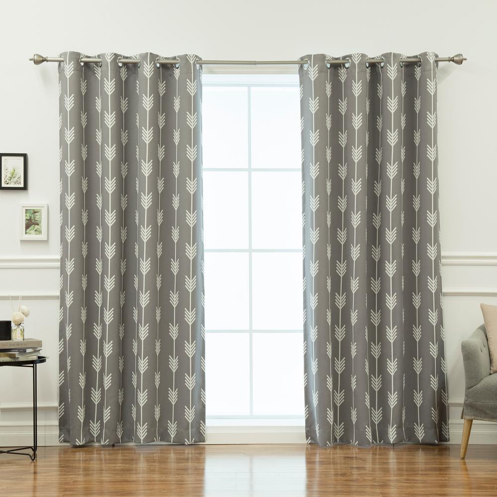 84 in. L Arrow Room Darkening Curtains in Grey (2-Pack)