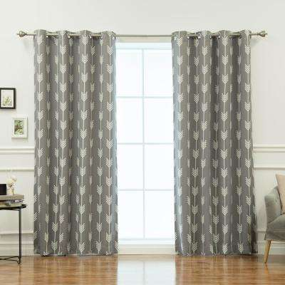 96 in. L Arrow Room Darkening Curtains in Grey (2-Pack)