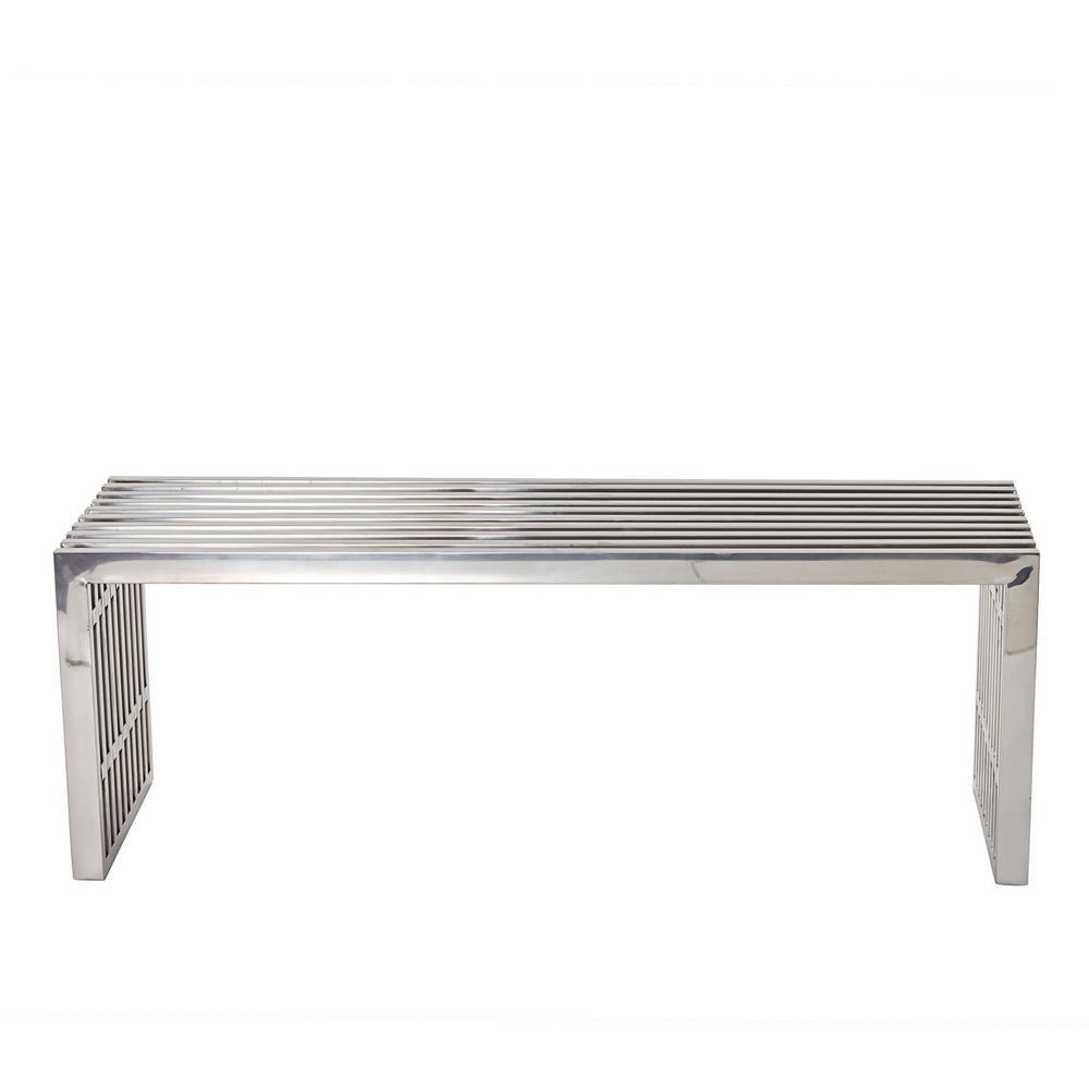 Gridiron Medium Stainless Steel Bench in Silver