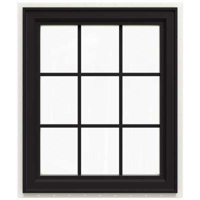 29.5 in. x 35.5 in. V-4500 Series Left-Hand Casement Vinyl Window with Grids - Black