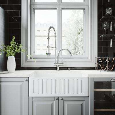 Attrayant All In One Matte Stone Farmhouse 30 In. 0 Hole Kitchen Sink