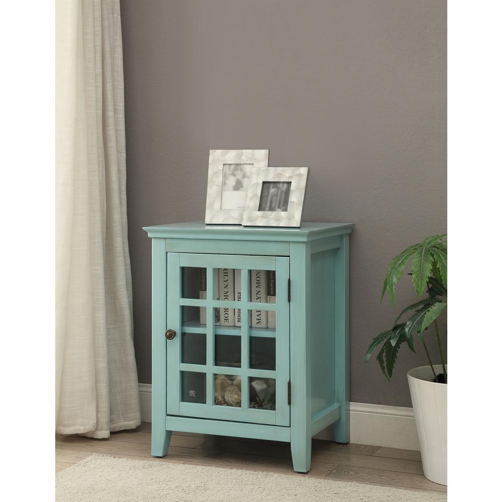 Linon Largo Antique Turquoise Storage End Table
