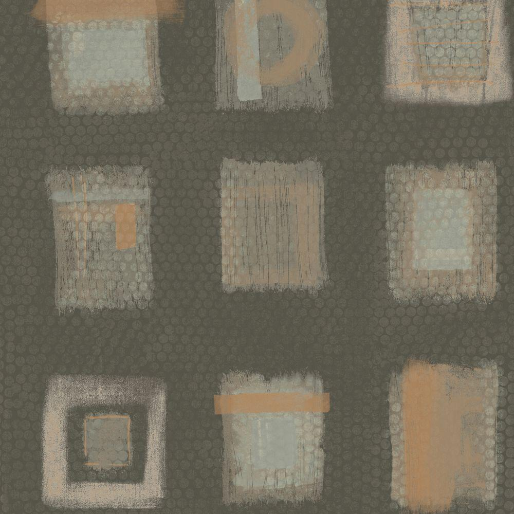 The Wallpaper Company 8 in. x 10 in. Grey Free Form Squares on a Geotextural Ground Wallpaper Sample
