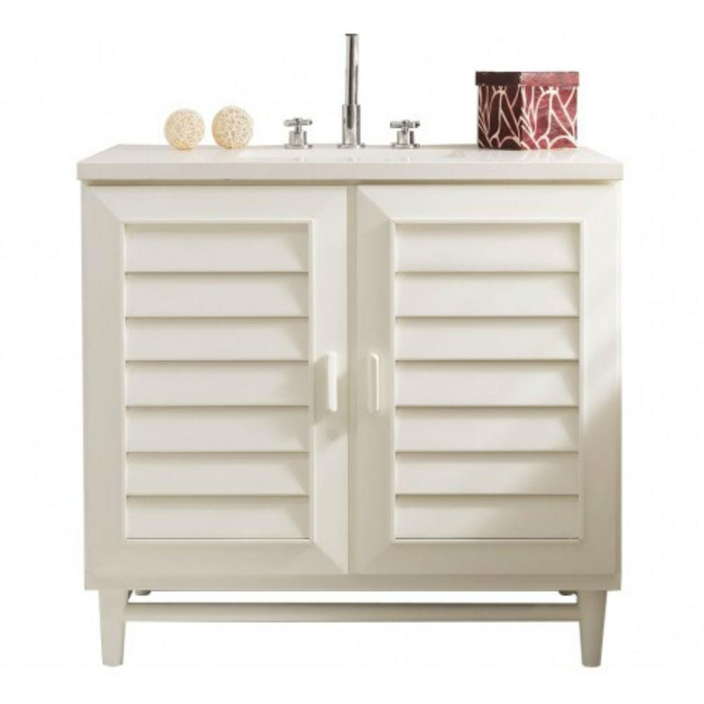 Portland 36 in. W Single Vanity in Cottage White with Solid Surface Vanity Top in Arctic Fall with White Basin