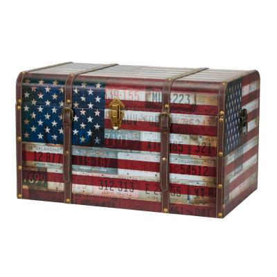 16.14 in. Red, White and Blue Wood Vintag Jumbo Trunk