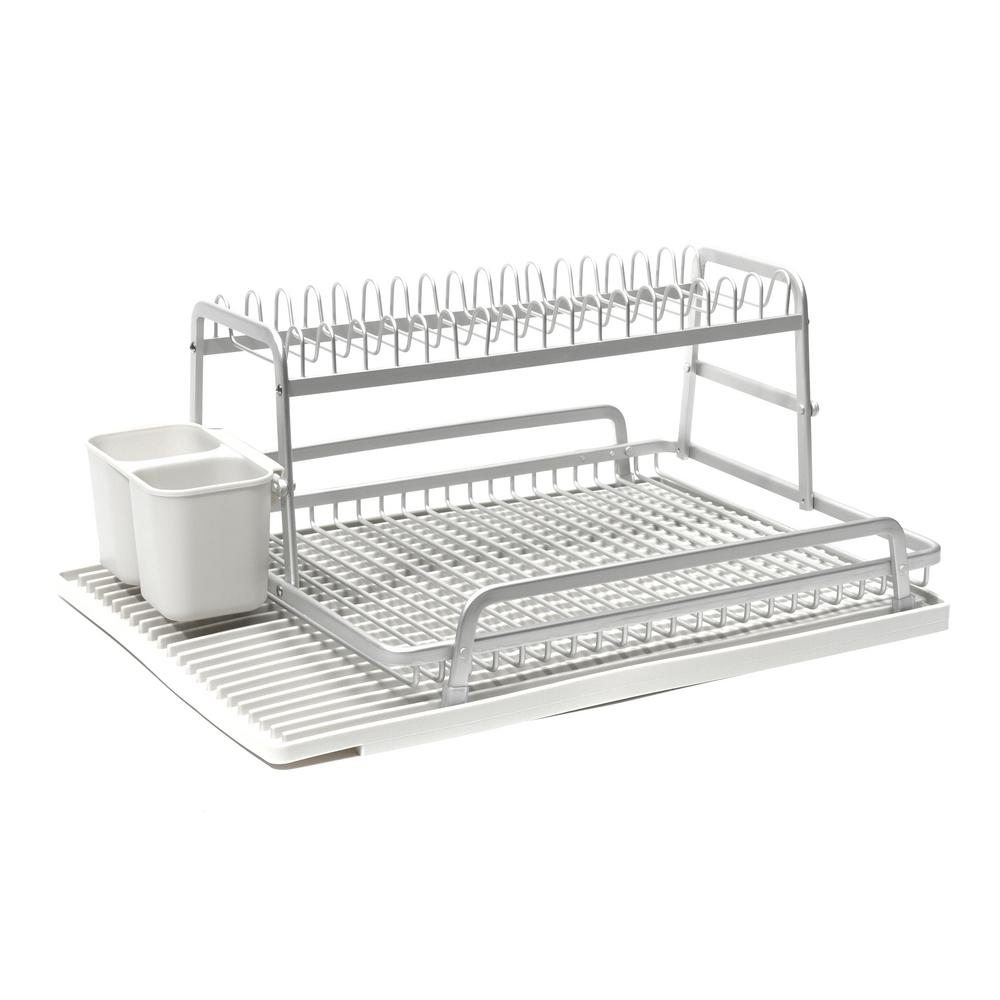 Double Level 21 in x 14.75 in. Dish Rack in Brushed Alumi...