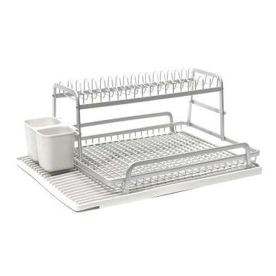 Double Level 21 in x 14.75 in. Dish Rack in Brushed Aluminum with Silicone Mat in Light Grey