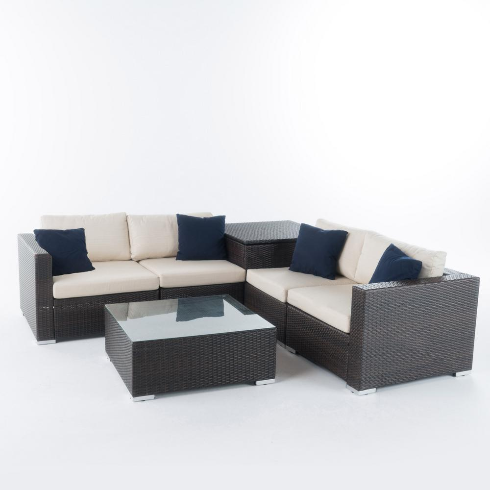 Noble House Dominique 6-Piece Wicker Outdoor Sectional Set with ...