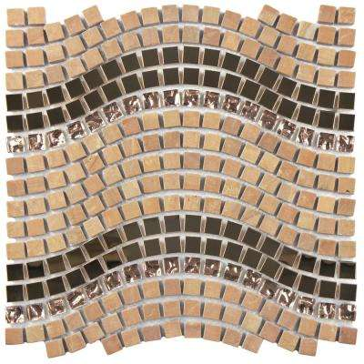 Tessera Wave Saturn 11-3/4 in. x 12-1/4 in. x 8 mm Glass, Stone and Metal Mosaic Tile