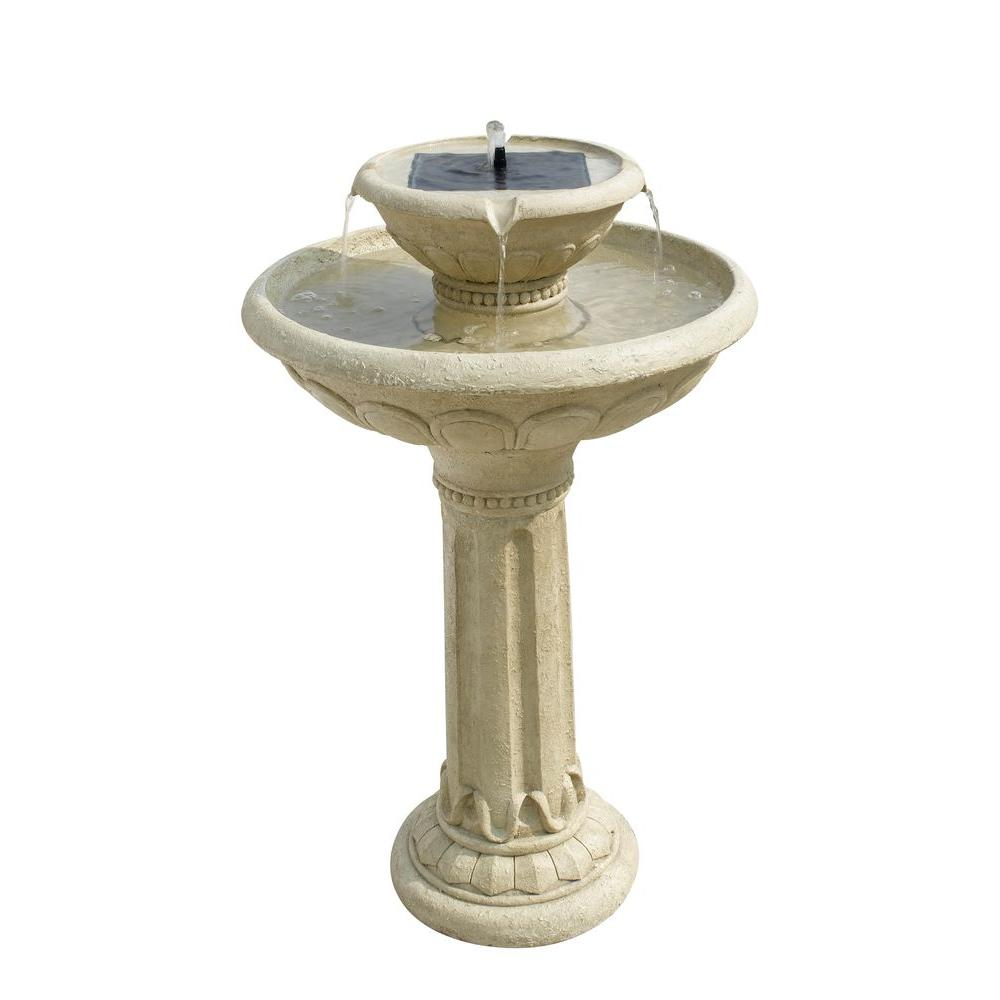 Smart solar antique white stone kensington gardens two for Garden water fountains