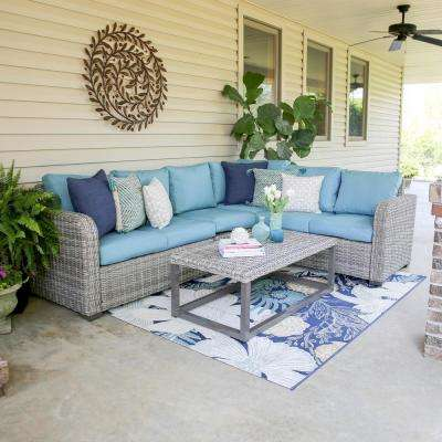 Forsyth 5-Piece Wicker Outdoor Sectional Set with Blue Cushions