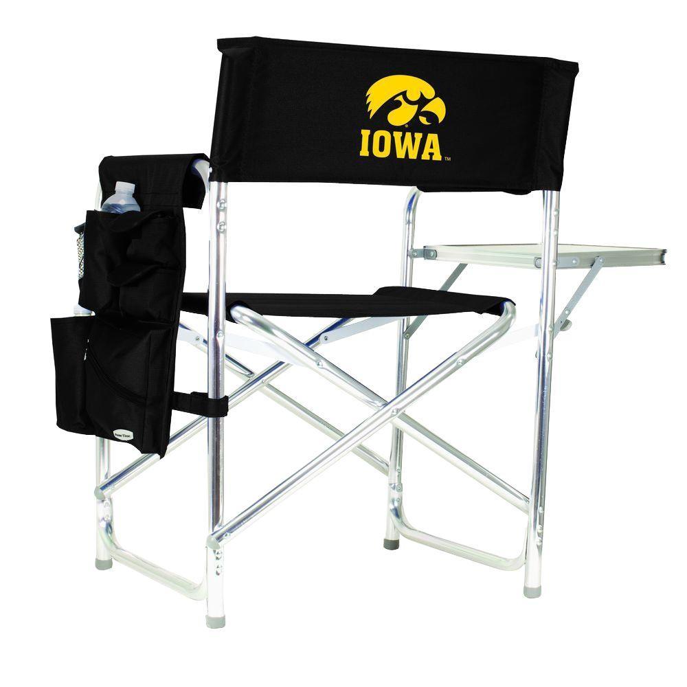 University of Iowa Black Sports Chair with Digital Logo