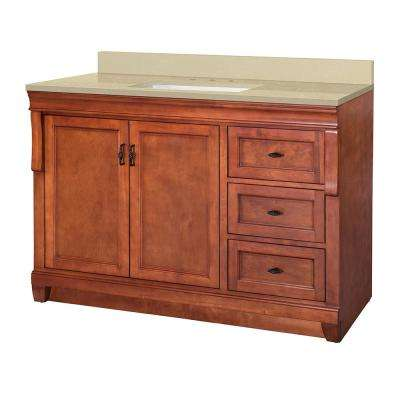 Naples 49 in. W x 22 in. D Vanity in Warm Cinnamon with Engineered Marble Vanity Top in Crema Limestone with White Sink