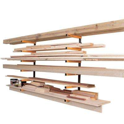 12 in. 6-Shelf Powder-Coated Steel Wood Rack Storage System Kit