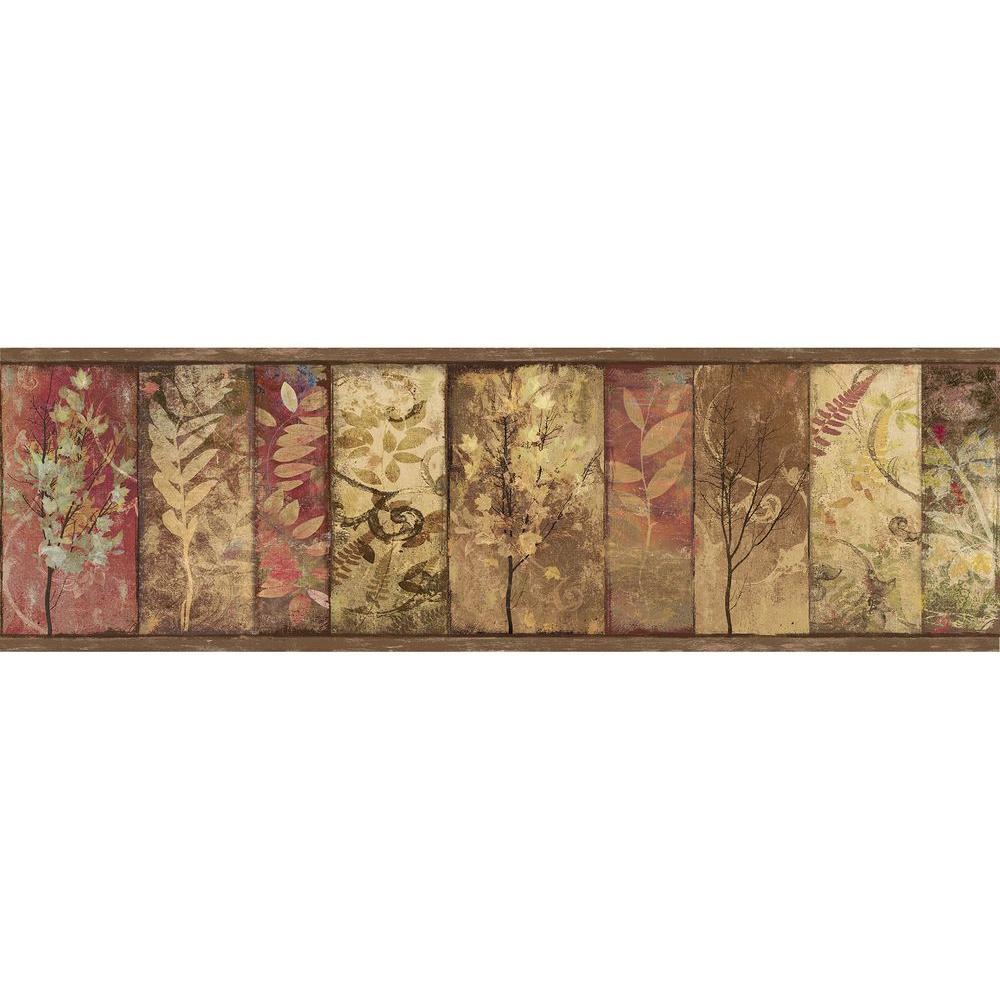 Lillinonah Brown Foliage Wallpaper Border Sample