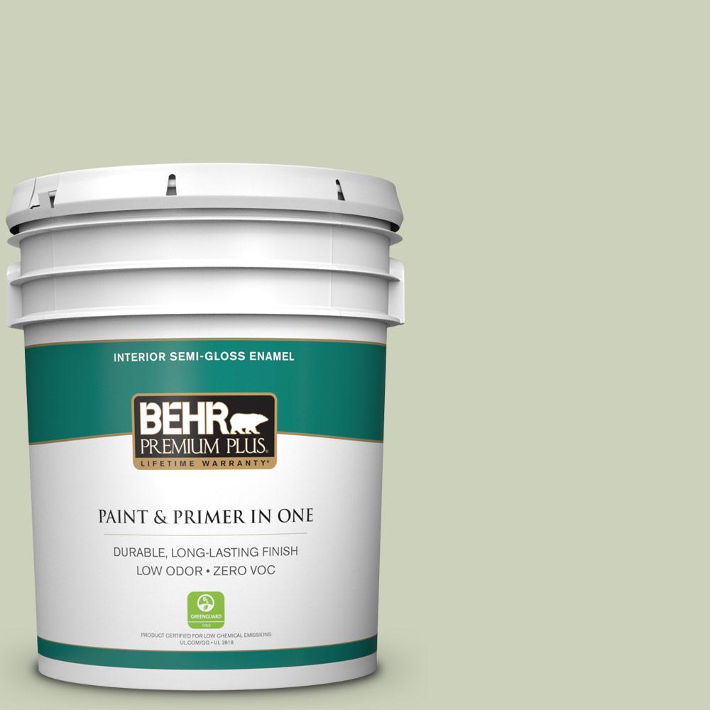 5 gal. #PPU10-09 Chinese Jade Zero VOC Semi-Gloss Enamel Interior Paint