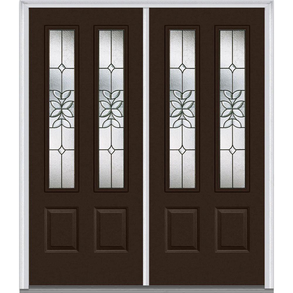 MMI Door 72 in. x 80 in. Cadence Left-Hand Inswing 2-Lite Decorative Glass 2-Panel Painted Steel Prehung Front Door