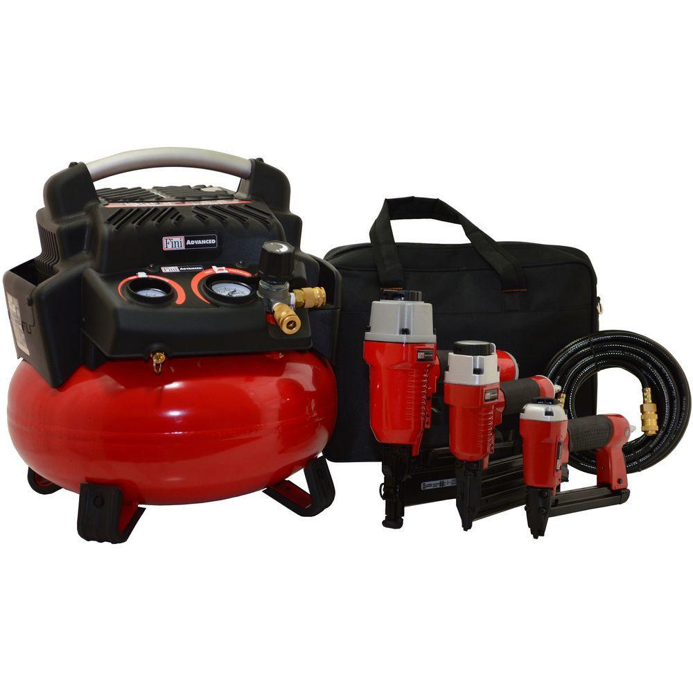Fini PRO-6 1.5 HP 6 Gal. 150 PSI Portable Electric Pancake Air Compressor with 3 Nailer Combo Kit