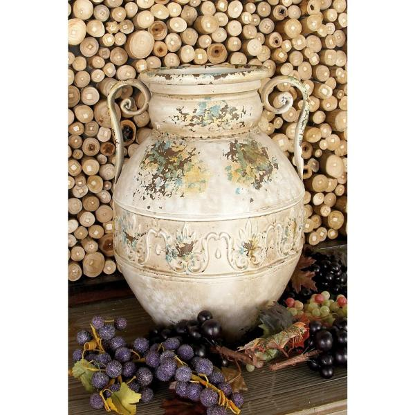 Litton Lane 15 in. Distressed Beige Iron Metal Urn Planter Decorative Vase with Double Scrolled Handles