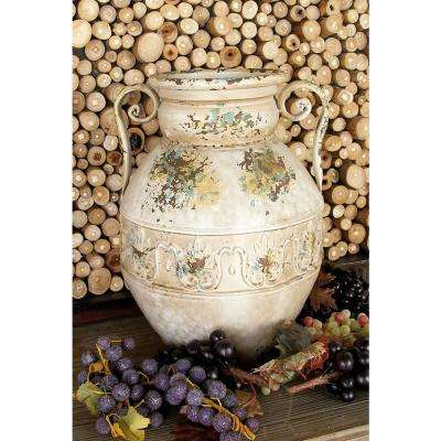 15 in. Distressed Beige Iron Metal Urn Planter Decorative Vase with Double Scrolled Handles