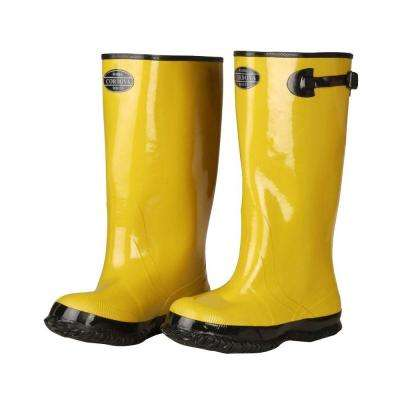 17 in. Over The Boot Rubber Slush Boot Cotton Lined Hi Vis Yellow Top Strap and Buckle Size 14